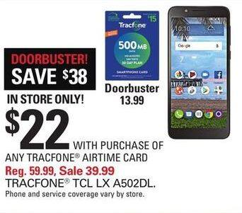 Shopko Black Friday: TCL LX A502DL Tracfone Prepaid Phone w