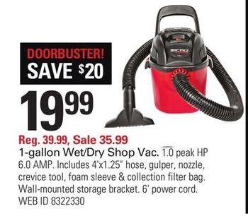 f98412a4ac3c1a Shopko Black Friday  1-Gallon 6 Amp 1.0 Peak HP Wet Dry Shop Vac for  19.99