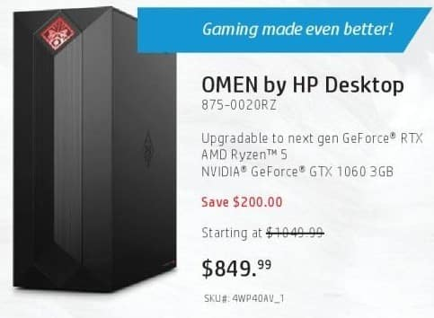 HP Black Friday: HP Omen Obelisk 875-0020RZ Desktop: AMD
