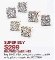 Macy S Black Friday 1 3 Ct T W Round Or Princess Cut Diamond 14k