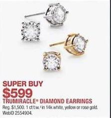 Macy S Black Friday Trumiracle 1 Ct T W Diamond 14k Gold Earrings