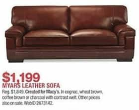 Fine Macys Black Friday Myars Leather Sofa For 1 199 00 Download Free Architecture Designs Aeocymadebymaigaardcom