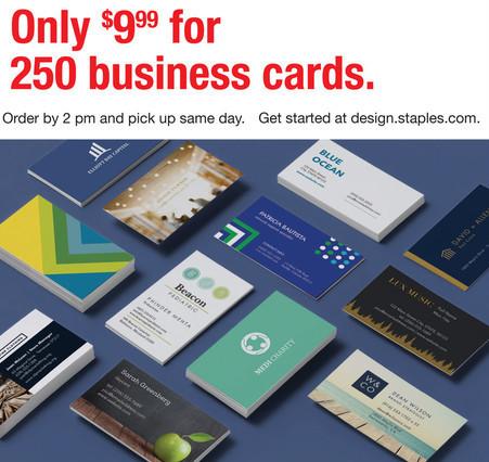 Staples Black Friday 250 Business Cards For 999 Slickdeals