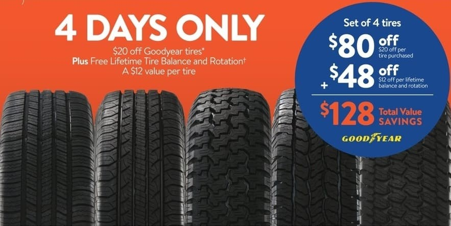 Walmart Black Friday Goodyear Tires 20 Off Free Lifetime Tire