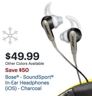 9ae1b6296fb Best Buy Black Friday: Bose SoundSport In-Ear Headphones for $49.99 ...