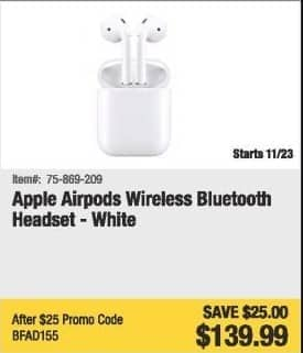 69e45a119f Newegg Black Friday  Apple Airpods Wireless Bluetooth Headset (White) for   139.99