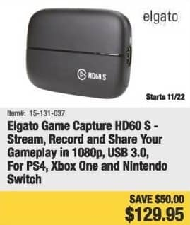 Newegg Black Friday: Elgato Game Capture HD60 S for PS4, Xbox One