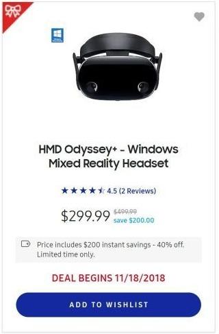 0105a7029e74 Samsung Black Friday  Samsung HMD Odyssey+ Windows Mixed Reality Headset  for  299.99
