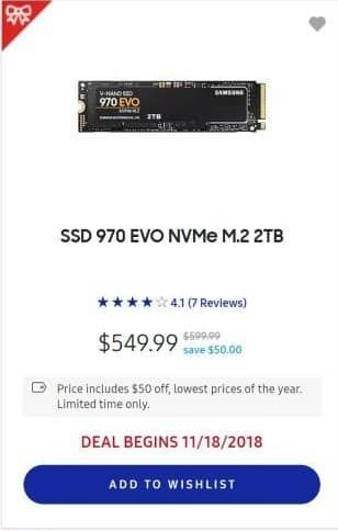 Samsung Black Friday: 2TB Samsung 970 EVO NVMe Solid State