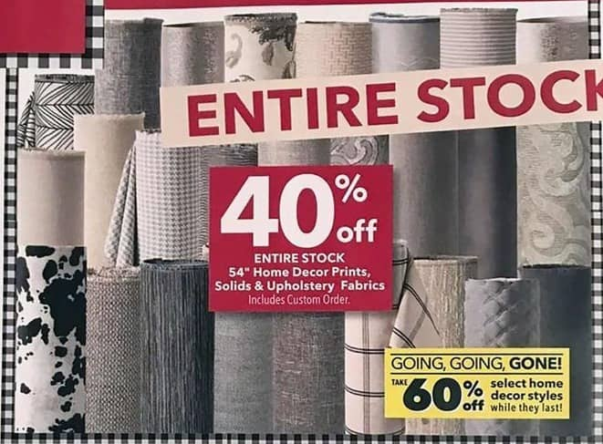 Joann Black Friday Entire Stock 54 Home Decor Prints Solids And Upholstery Fabrics