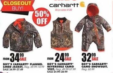 e14ec8723593 Blains Farm Fleet Black Friday  Carhartt Boys  Camo Snowsuit for ...
