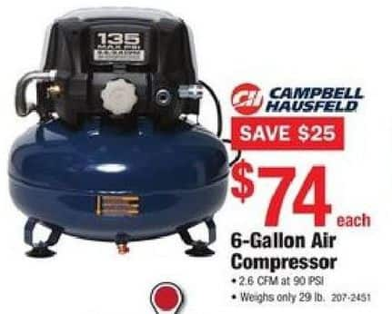 Menards Black Friday Campbell Hausfeld 6 Gallon Air Compressor For 74 00