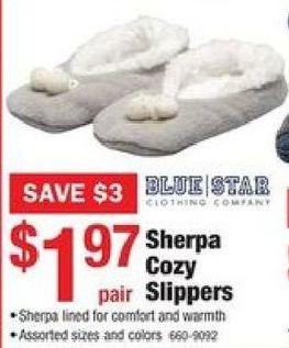 d185b09dc65 Menards Black Friday  Blue Star Sherpa Cozy Slippers for  1.97 ...