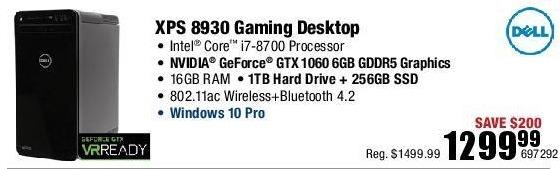Micro Center Black Friday: Dell XPS 8930 Gaming Desktop: Intel i7