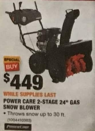 Home Depot Black Friday Power Care 2 Stage 24 Gas Snow