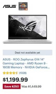 Best Buy Black Friday Asus Rog Zephyrus G14 14 Gaming Laptop Amd Ryzen 9 16gb Ram 1tb Ssd Nvidia Geforce Rtx 2060 Max Q For 1 199 99