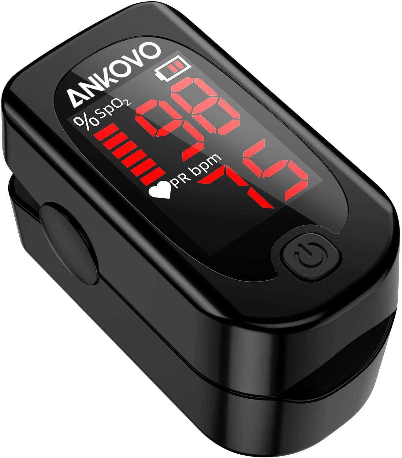 ANKOVO Portable Pulse Oximeter Fingertip Blood Oxygen Saturation Monitor with Pulse Rate, Heart Rate Monitor  - $35.99 + f/s