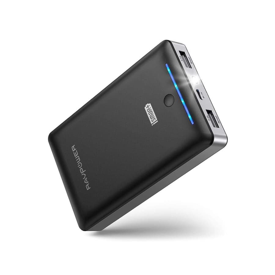 RAVPower 16750mAh 2-Port Power Bank with Fast Recharge & Flashlight (white/black) - $15.99