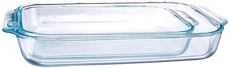 Pyrex Basics Clear Oblong Glass Baking Dishes, 2 Piece Value Plus Pack Set $14.99