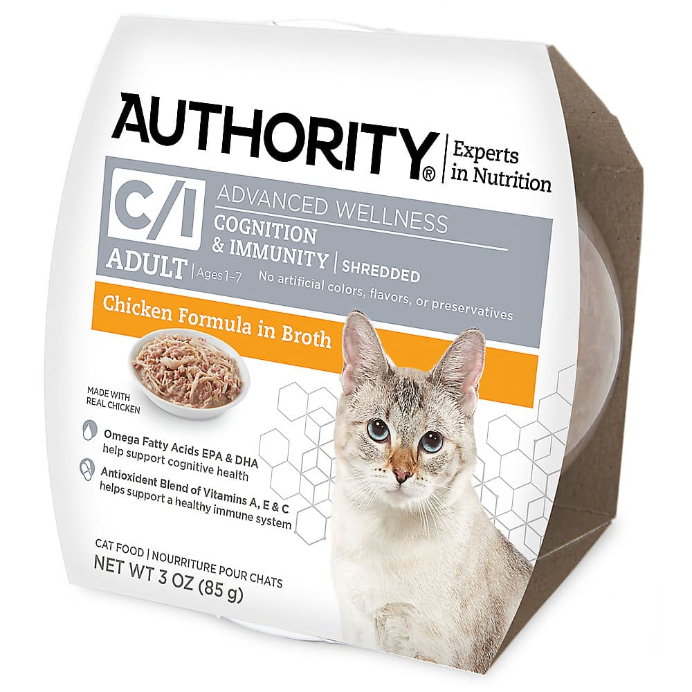 Authority® Advanced Wellness Cognition & Immunity Shredded Wet Cat Food Chicken Formula in Broth 3 oz. Cans $0.37