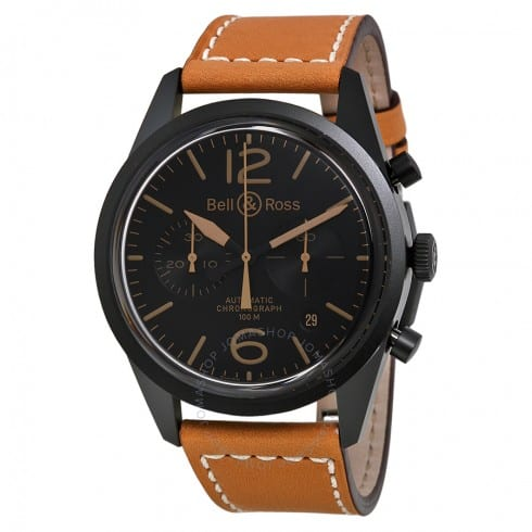 BELL & ROSS Vintage Heritage Automatic Chronograph Black Dial Tan Leather Men's Watch - $2295 (50% off)
