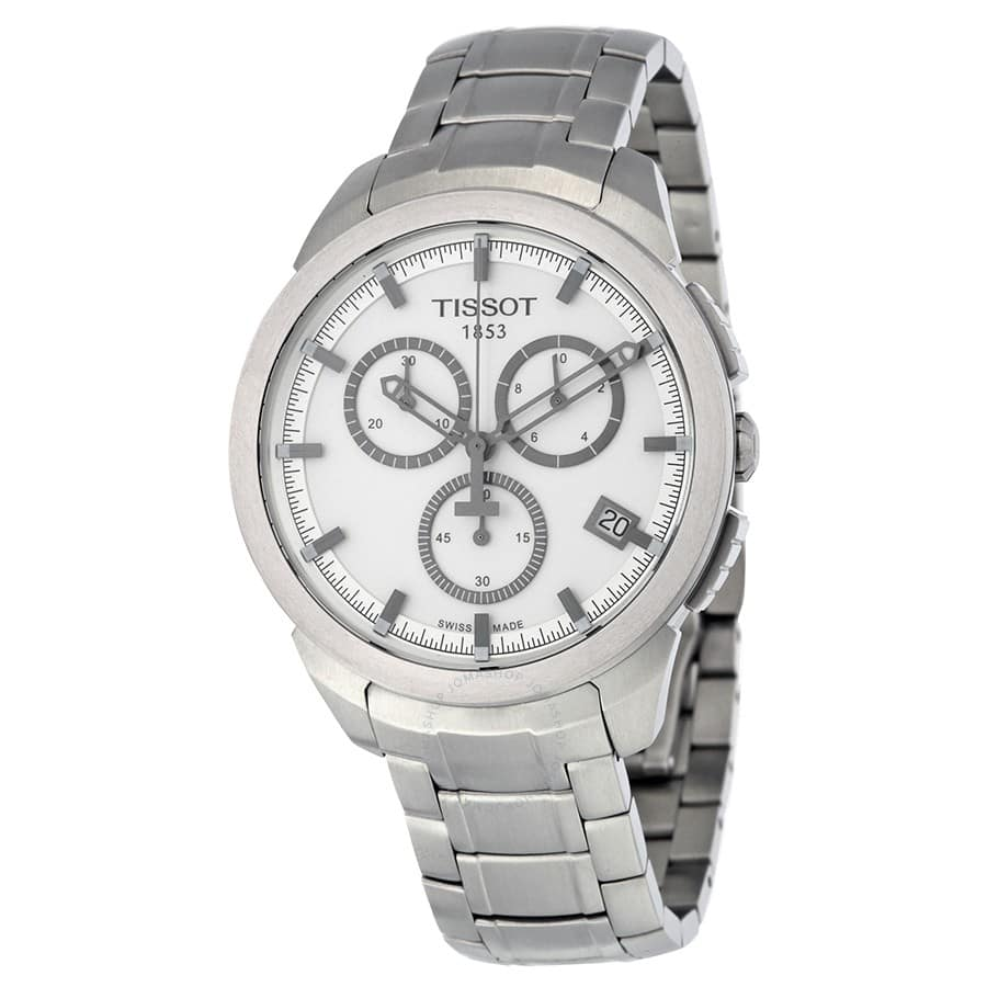 TISSOT Chronograph Silver Dial Titanium Men's Watch - $189.99 Shipped