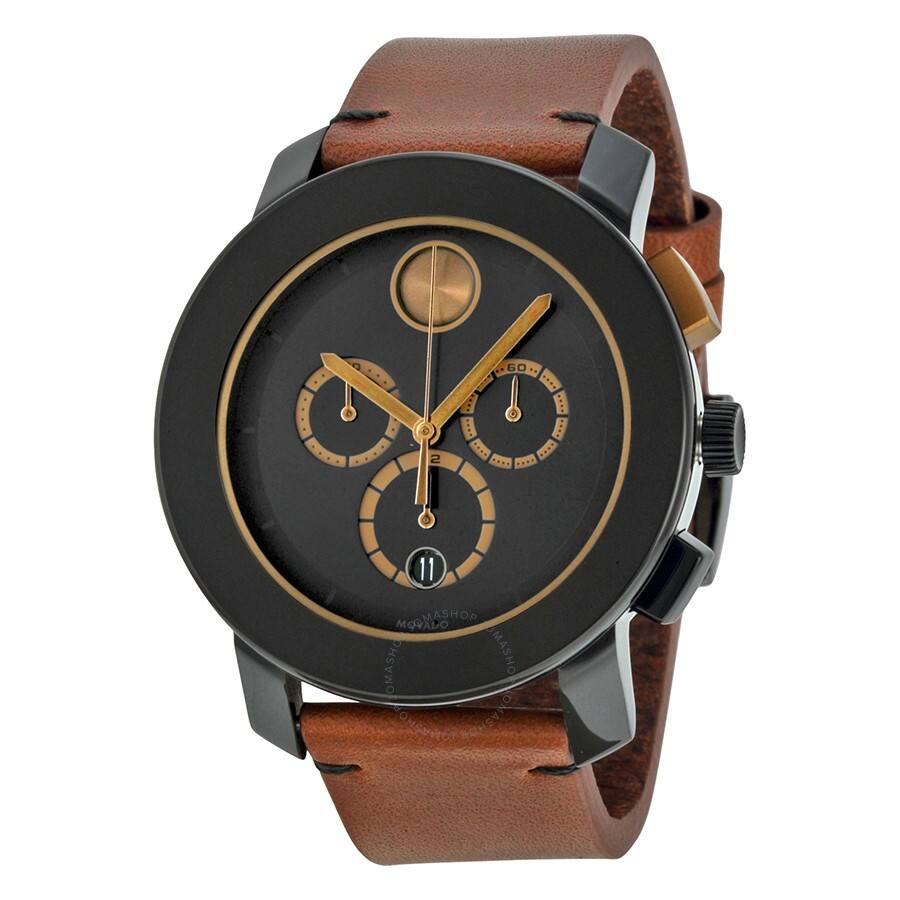 MOVADO Bold Chronograph Black Dial Leather Men's Watches - $225 shipped