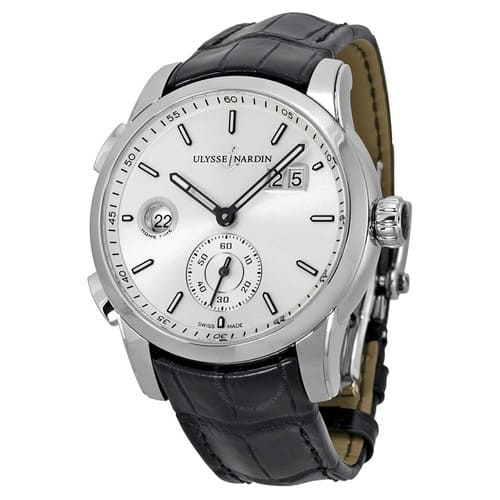 ULYSSE NARDIN GMT Dual Time Automatic Silver Dial Black Leather Men's Watch - $3995 (62% off)