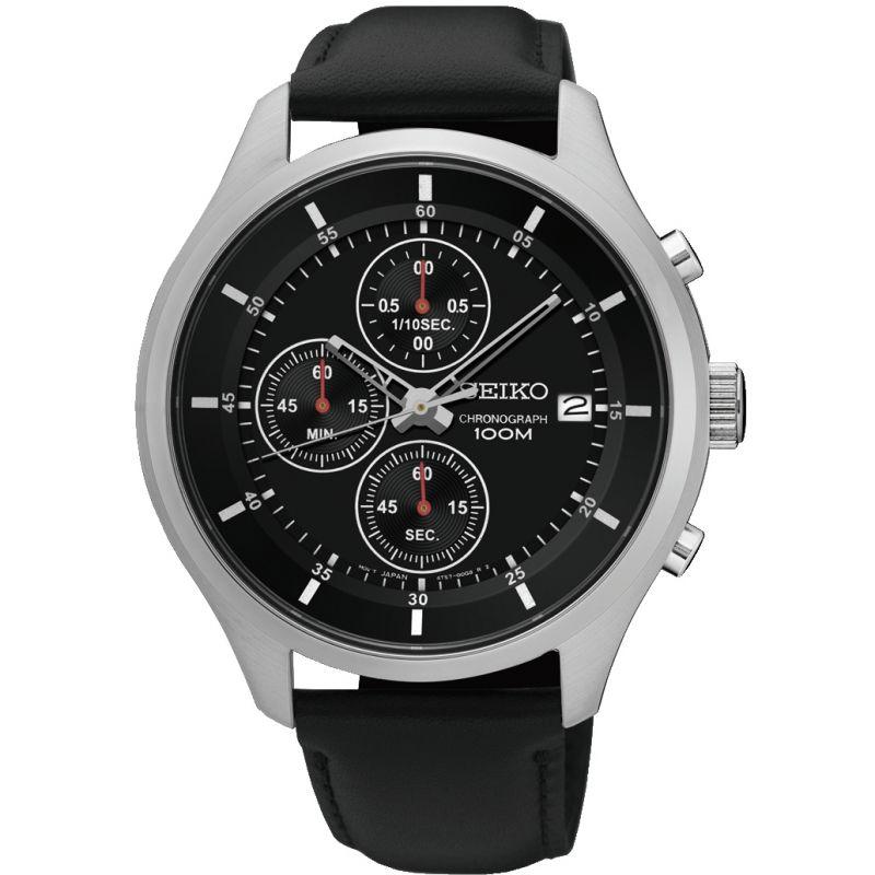 SEIKO Neo Sports Chronograph Quartz Black Dial Men's Watch - $89 Shipped