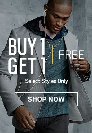 Men's Wearhouse Buy 1 Get 1 Free select items and 50% off for additional items, Including Clearance Items!