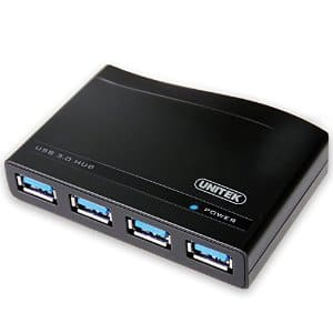 Almost 60% OFF UNITEK 4-Port USB 3.0 Hub with 5V 2A Power Adapter Power Switch USB 3.0 cable $6.99 AC @ Amazon
