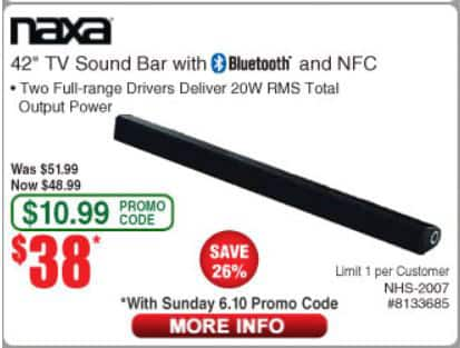 Naxa 42in TV Sound Bar with Bluetooth and NFC for $38 AC @ Fry's