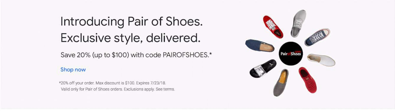 20% off from pairofshoes.com via Google Express