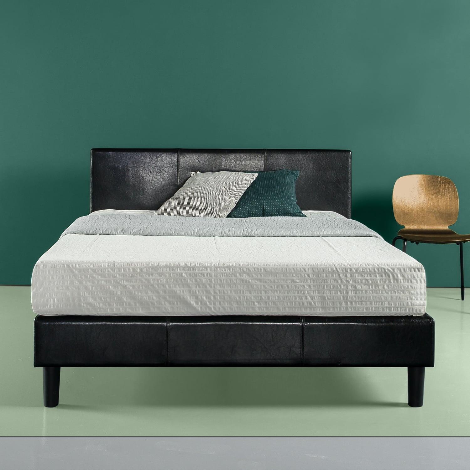 Zinus Faux Leather Platform Bed with Wood Slat Support, Queen for $149 @ Walmart