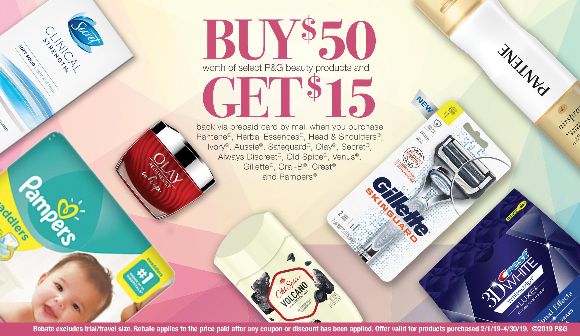 Spring Beauty Rebate: $15 Rebate on $50 Worth of P&G beauty