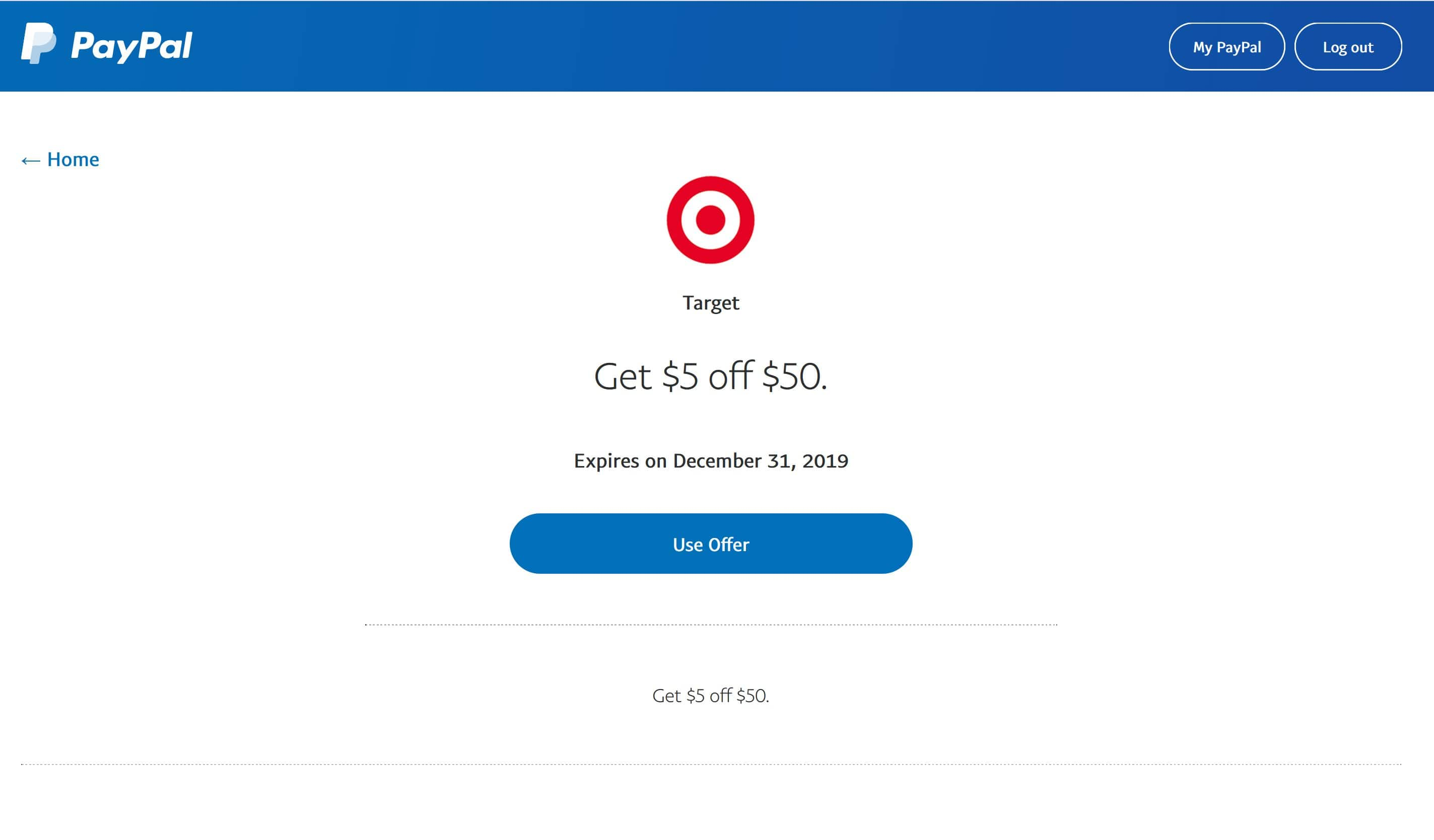 Paypal: Target $5 off $50 YMMV