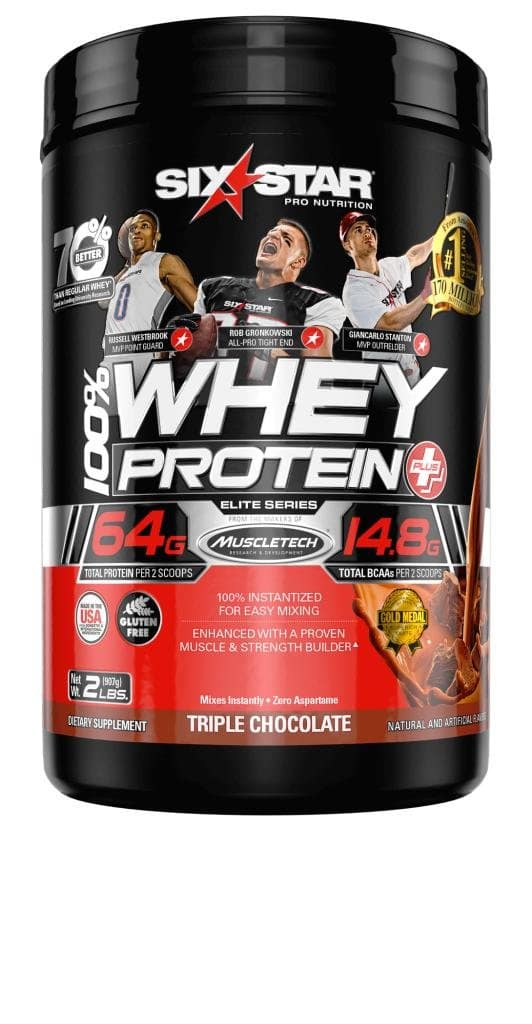 Six Star Pro Nutrition 100% Whey Protein Plus, 64g total protein per 2 scoops Ultra-Pure Whey Protein Powder, Triple Chocolate, 2 Pound for as low as $9.88 AC & SS @ Amazon $9.88