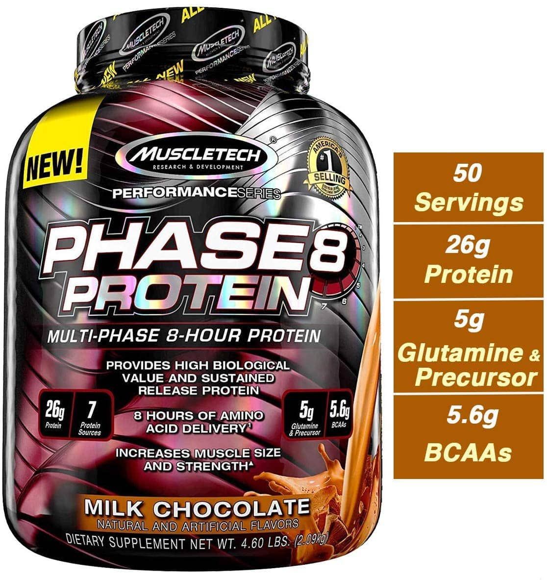MuscleTech Phase8 Whey Protein Powder Blend, Sustained Release 8-Hour Protein Shake, Milk Chocolate, 4.6 Pound for as low as $23.89 AC & SS @ Amazon