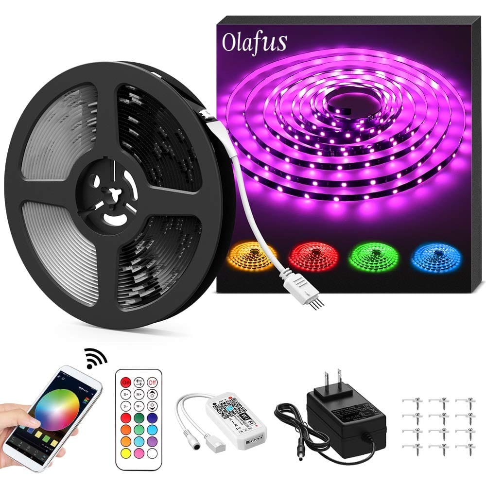Olafus 32.8ft Color Changing Smart WiFi LED Strip Lights w Music Sync and remote for $11.49 AC @ Amazon
