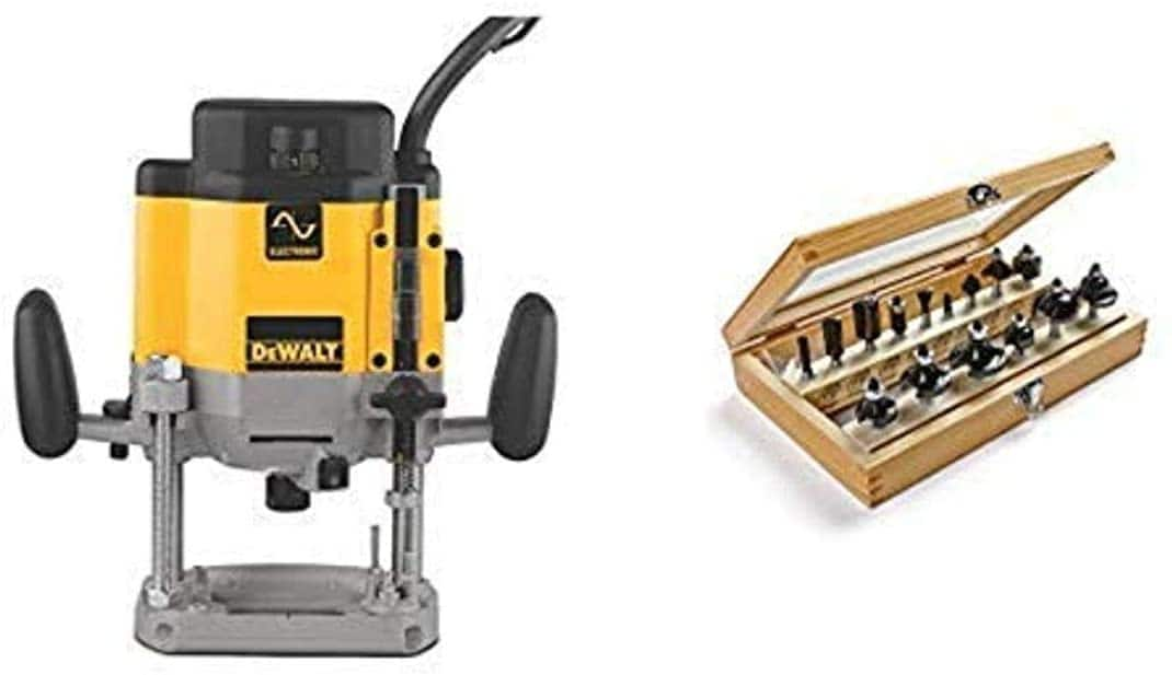 DEWALT DW625 3-Horsepower Variable Speed Electronic Plunge Router with Irwin Tools 1901048 Marples Deluxe Router Bit Set (15 Piece) $280