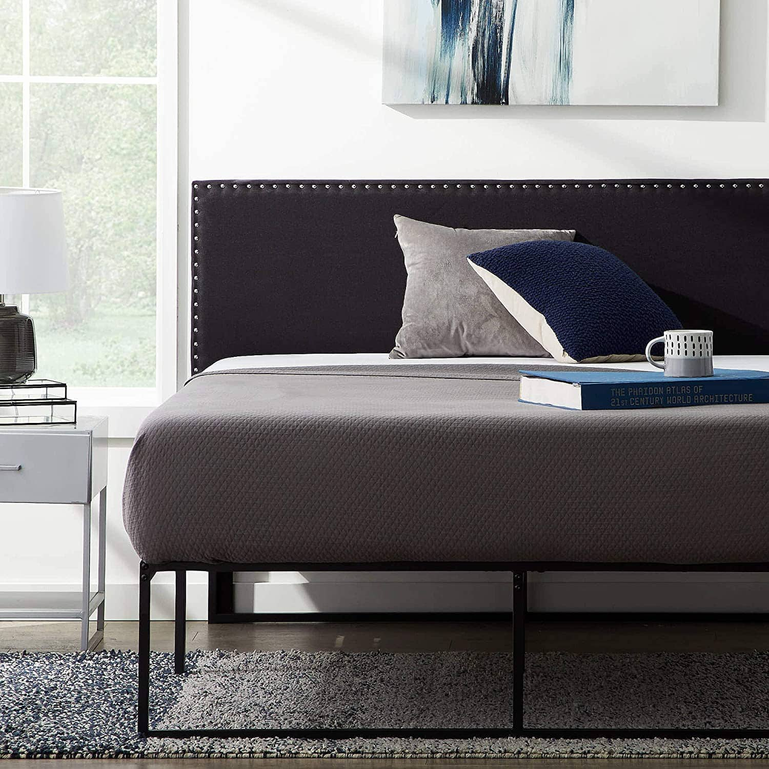 LUCID Upholstered Mid-Rise Headboard with Nailhead Trim Platform $89.99