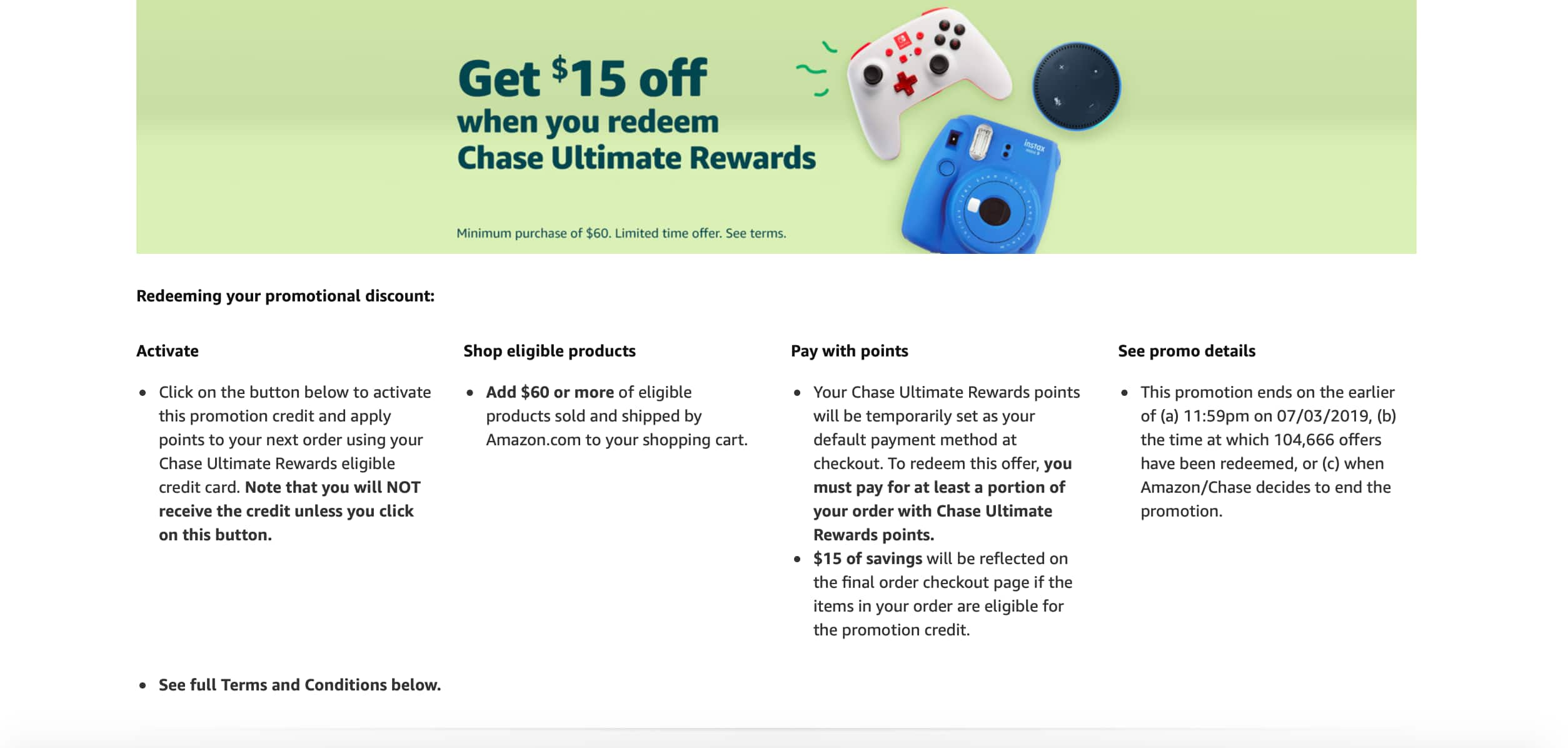 Gets $15 off when you reedeem Chase Ultimate Reward with a minimum purchase of $60 or more. (YYMV)