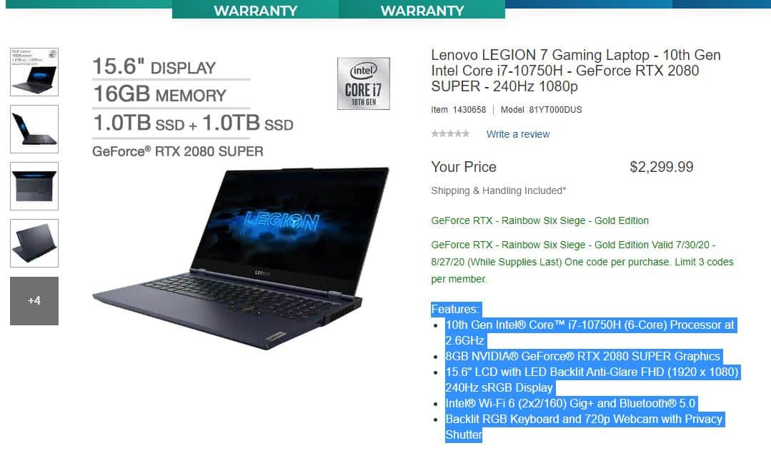Lenovo Legion 7i $2299
