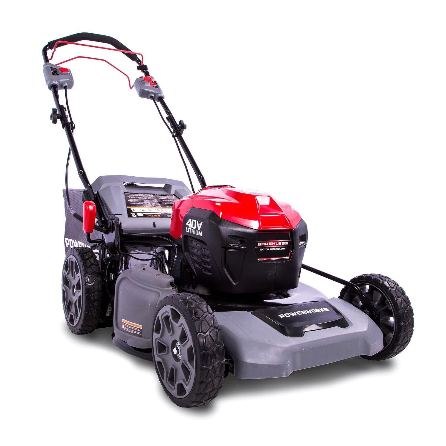 Lawn Mower : Powerworks 21 Inch 40V Lithium Self-Propelled Mower, 5 Ah Battery and Charger Included $348.98