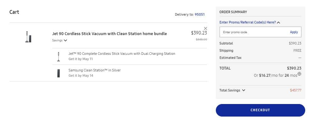Samsung Jet 90 Cordless Vacuum w/ Cleaning Station Bundle - $390.23 @ Samsung.com