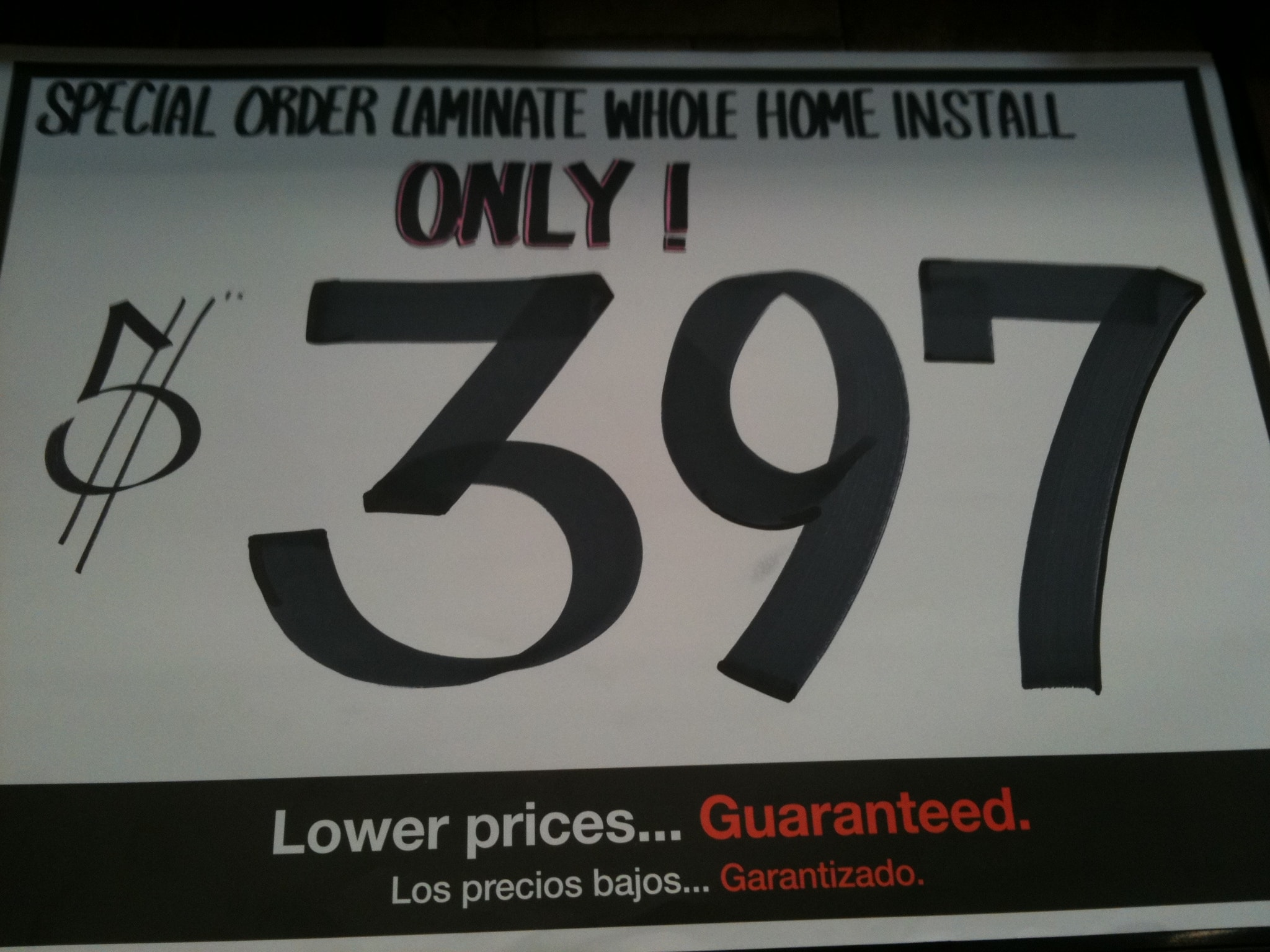 $397 Whole house laminate installation at Home Depot