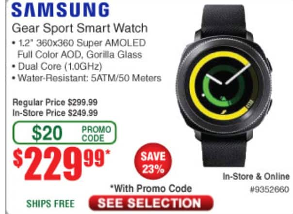 Samsung Gear Sport $229 with Code from Fry's