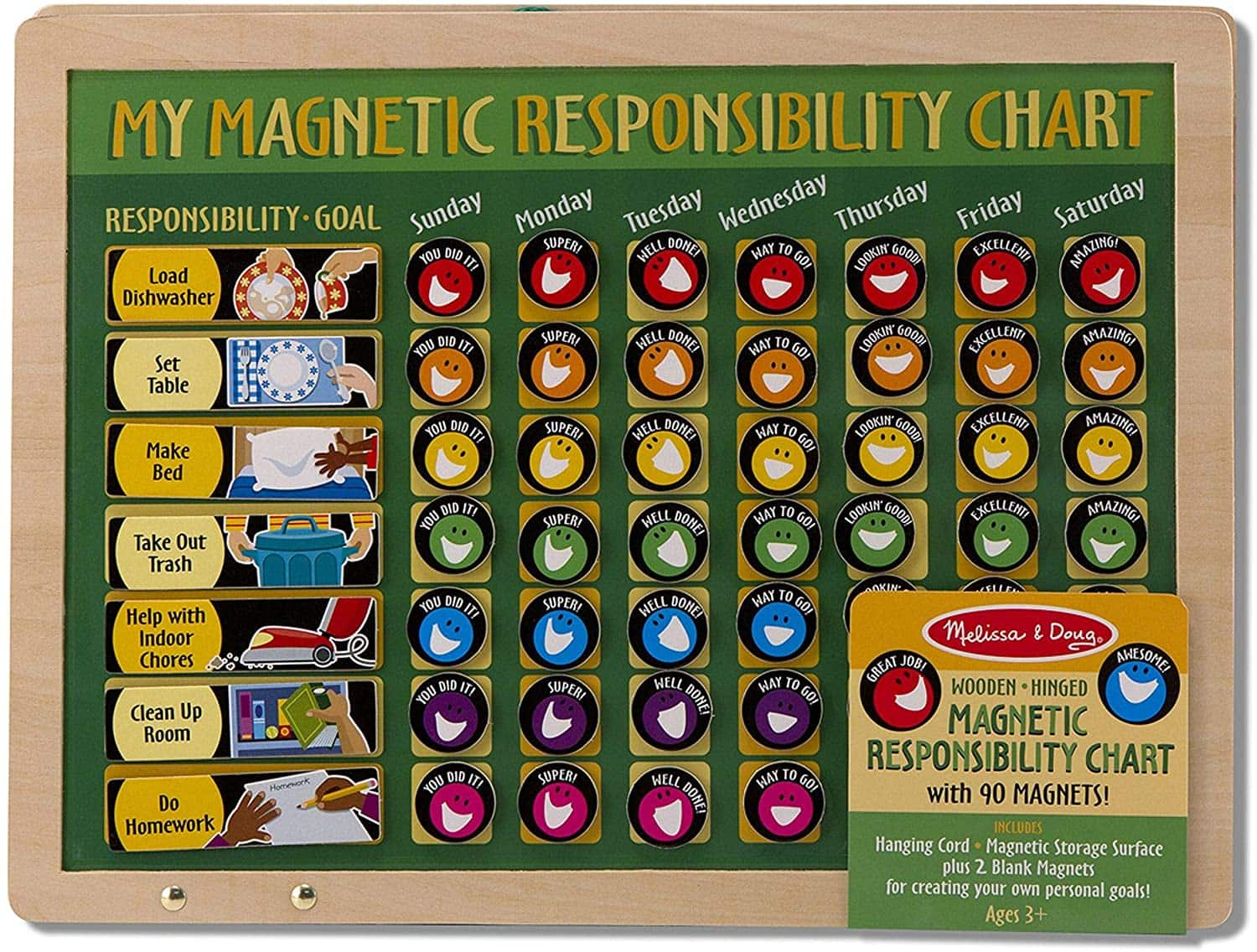 Melissa & Doug: Deluxe Wooden Magnetic Responsibility Chart $10, Magnetic Responsibility Chart $10 + Free Shipping w/ Prime or on $25+
