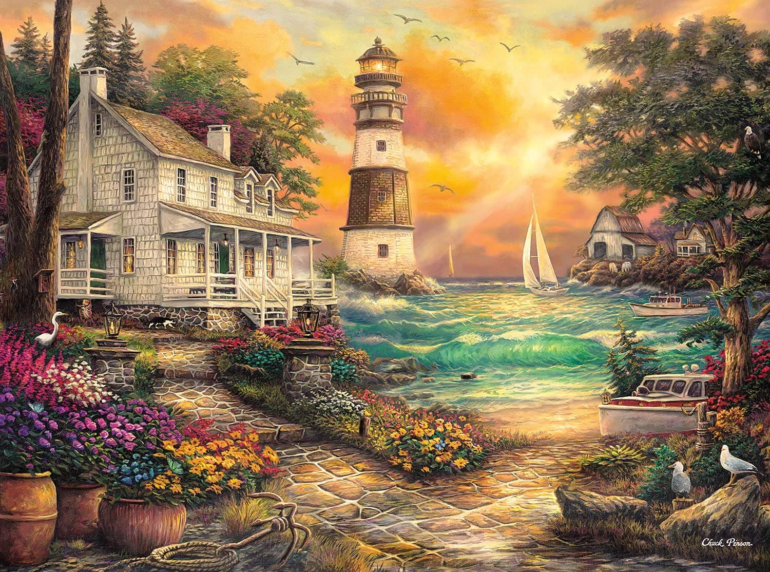 1000-Piece Buffalo Games Chuck Pinson - Cottage By The Sea Jigsaw Puzzle $9 + Free Shipping w/ Prime