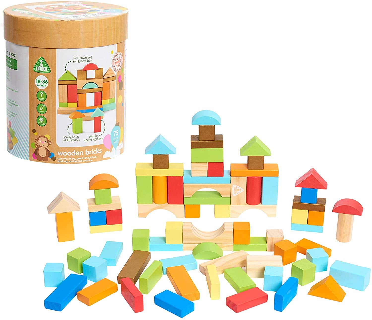 75-Piece Early Learning Centre Kid's Wooden Bricks $7.71 + Free Shipping w/ Prime or on $25+